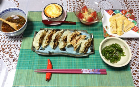 Gyoza and some side dishes